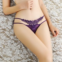 Hot Temptation See Through Lace Sexy Thong - Purple