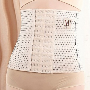 Hooked Closure Hollow Slim Belly Corset - Apricot