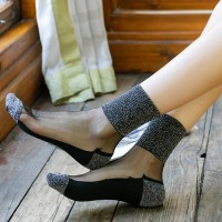 5 Pcs Thin Fabric Patch Fancy Wear Multi Occasion Socks - Gray