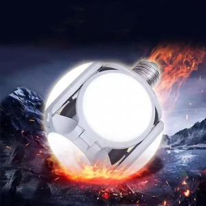 Collapsible Deformation Football Design LED Bulb - White