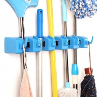 Mop And Broom Wall Hanger - Blue