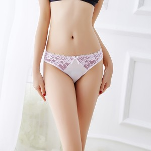 Fashion New Color Matching Lace Low Waist  Thong - White