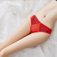 Fashion New Color Matching Lace Low Waist  Thong - Red