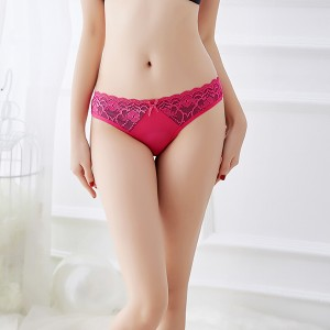 Fashion New Color Matching Lace Low Waist  Thong -  Rose Red