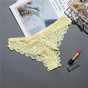 Ladies Comfortable Lace Sexy Seamless Thong - Yellow