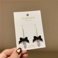Ladies Bow And Crystal Fashion Earrings - Black