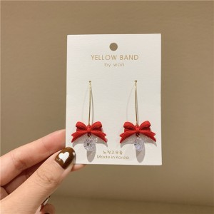 Ladies Bow And Crystal Fashion Earrings - Red