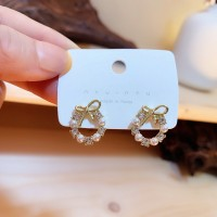 Girls Pearl Circle Bow Fashion Earrings - Golden
