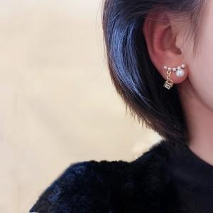 Girls Pearl Sparkling Full Diamond Earrings - White Gold