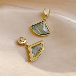Girls Fan Shaped Opal Personalized Earrings - Green
