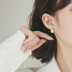 Ladies Triangle Opal Simple Personality Earrings - White