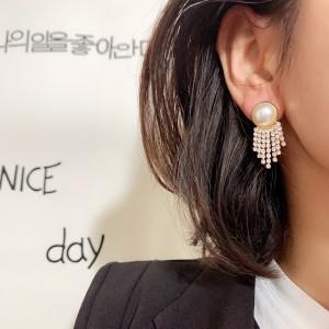 Ladies Pearl Rhinestone Tassel Personality Earrings - White