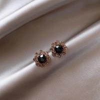 Ladies Crystal And Rhinestone Personality Earrings - Black