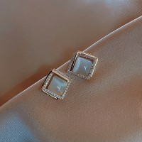 Ladies Opal Rhinestone Square Earrings - White