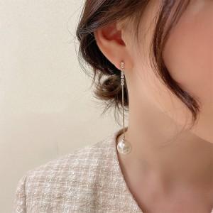 Ladies Pearl Tassel Rhinestone Long Earrings - White Gold