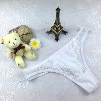Fashionable Lace Comfortable Ladies Thong - White