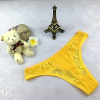 Fashionable Lace Comfortable Ladies Thong - Yellow