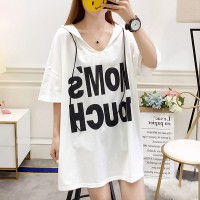 Printed Hoodie Loose Wear Vintage Top - White