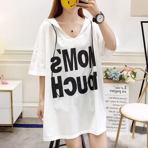 Printed Hoodie Loose Wear Vintage Top - White