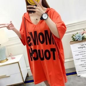 Printed Hoodie Loose Wear Vintage Top - Orange
