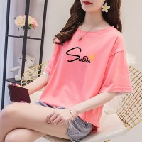 Summer Prints Round Neck Loose T-Shirt - Pink