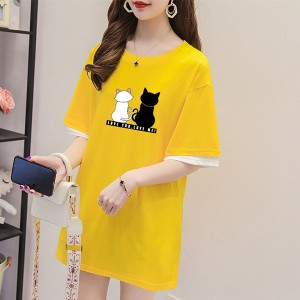 Couple Cat Prints Round Neck T-Shirt - Yellow