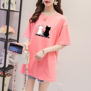 Couple Cat Prints Round Neck T-Shirt - Pink