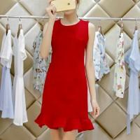 Round Neck Ruffled Hem Sleeveless Mini Dress - Red