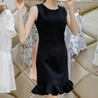 Round Neck Ruffled Hem Sleeveless Mini Dress - Black