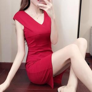 Sleeveless V Neck Solid Color Mini Dress - Red