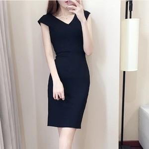 Sleeveless V Neck Solid Color Mini Dress - Black
