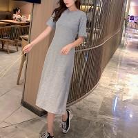 Round Neck Solid A-Line Midi Dress - Gray