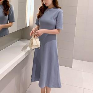 Round Neck Solid A-Line Midi Dress - Blue