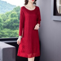 Lace Texuted Quarter Sleeves Elegant Wear Dress - Red
