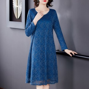 Lace Texuted Quarter Sleeves Elegant Wear Dress - Blue