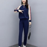 Sports Wear Full Sleeves Contrast Two Pieces Suit - Multicolor