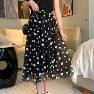 Floral Elastic Waist Women Fashion Skirt - Black