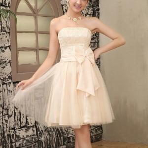 Bandeau Neck Waist Bow Elegant Party Wear Mini Dress - Apricot
