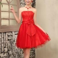 Bandeau Neck Waist Bow Elegant Party Wear Mini Dress - Red