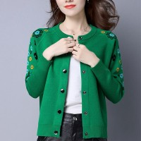 Cardigan Style O-Neck Long Sleeves Sweater For Women - Green