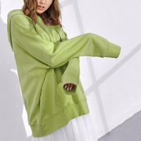 Solid Loose Wear Hoodie Top - Green