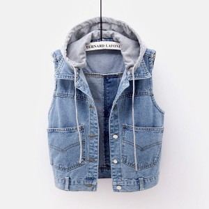 Denim String Closure Button Closure Outwear Top - Blue