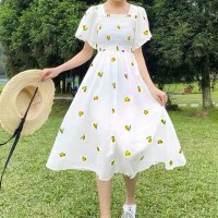 Square Neck Fruits Printed A-Line Midi Dress