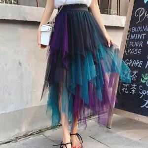 Irregular Gradient Nylon Women Fashion Skirt - Multicolor