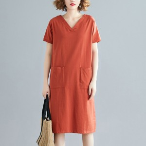 V Neck Solid Color Loose Mini Dress - Orange