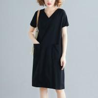 V Neck Solid Color Loose Mini Dress - Black