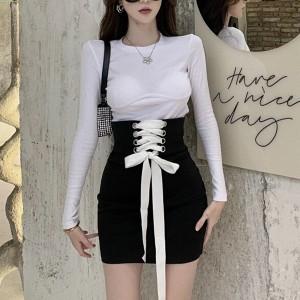 Drawstring Bodyfitted Full Sleeve Mini Dress - Black and White