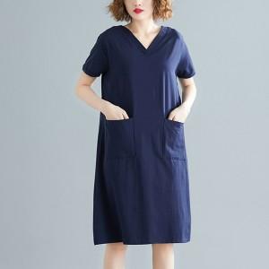 V Neck Solid Color Loose Mini Dress - Blue