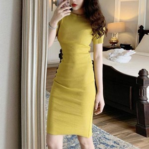 Round Neck Short Sleeves Fitted Mini Dress - Yellow