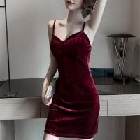 Velvet Strapped Shoulder Mini Dress - Wine Red